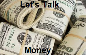 """The words """"let's talk money"""" overlay on top of an image of $100 bills"""