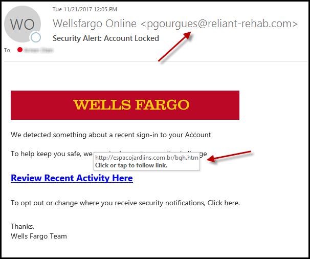 "Phishing Scam From ""Wells Fargo"" - J Street Technology - Software Development - 98004"